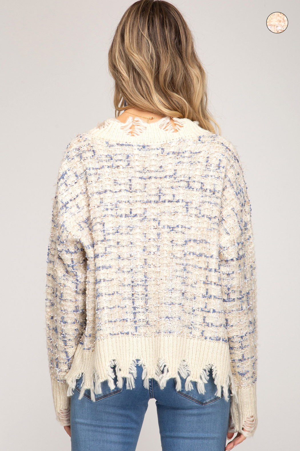 She & Sky  Frayed Mixed Thread Sweater - Front Full Image