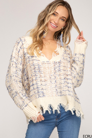 She & Sky  Frayed Mixed Thread Sweater - Front cropped