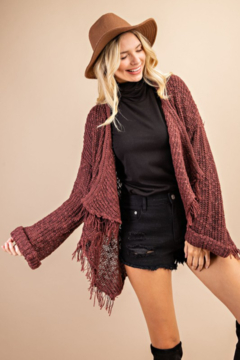 143 Story Frayed  Open Sweater Cardigan - Product List Image