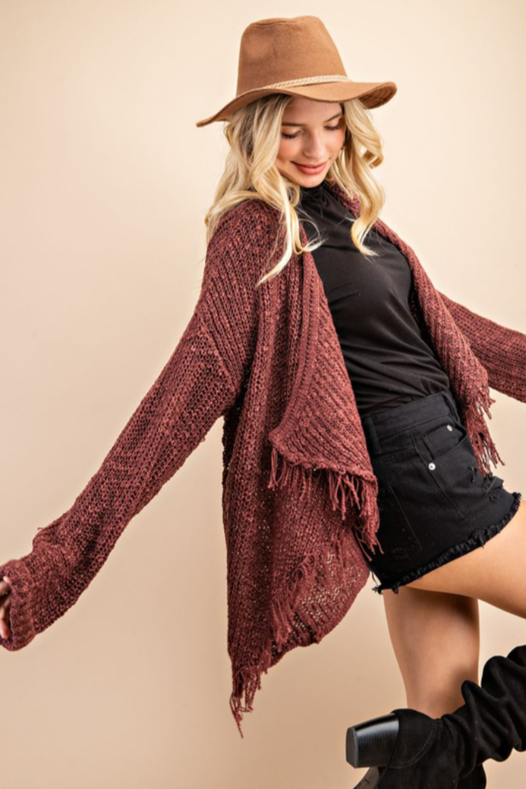 143 Story Frayed  Open Sweater Cardigan - Front Full Image