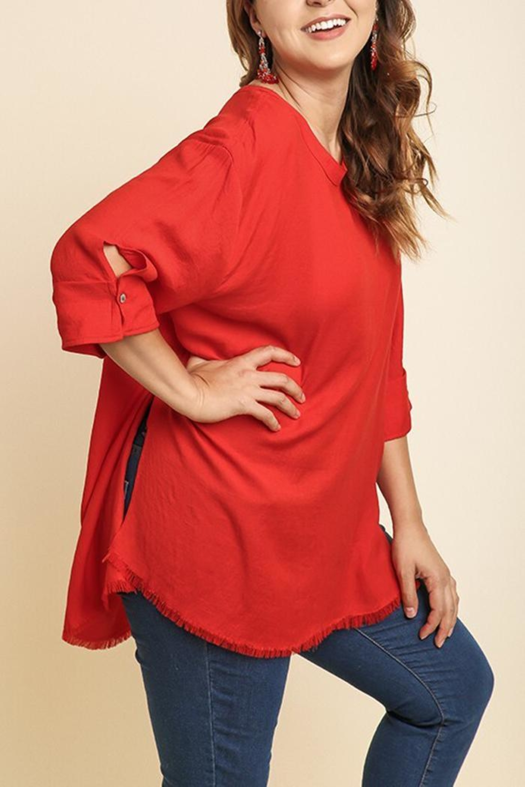 Umgee USA Frayed Red Tunic - Front Full Image