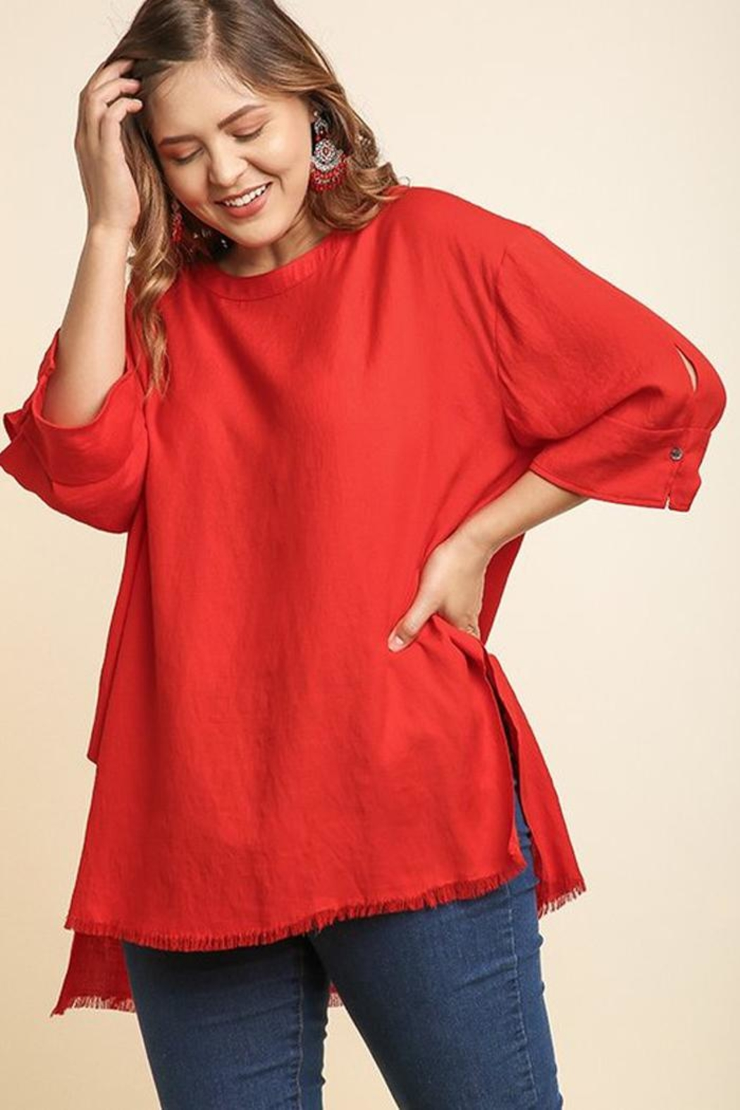 Umgee USA Frayed Red Tunic - Front Cropped Image