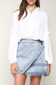 Mustard Seed Frayed Ruffle Woven Shirt - Product Mini Image