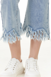 Charlie B. Frayed Stretch Denim - Back cropped