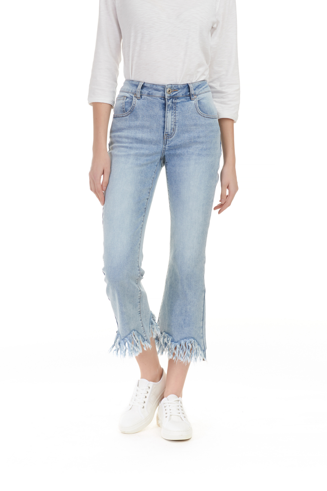 Charlie B. Frayed Stretch Denim - Front Full Image