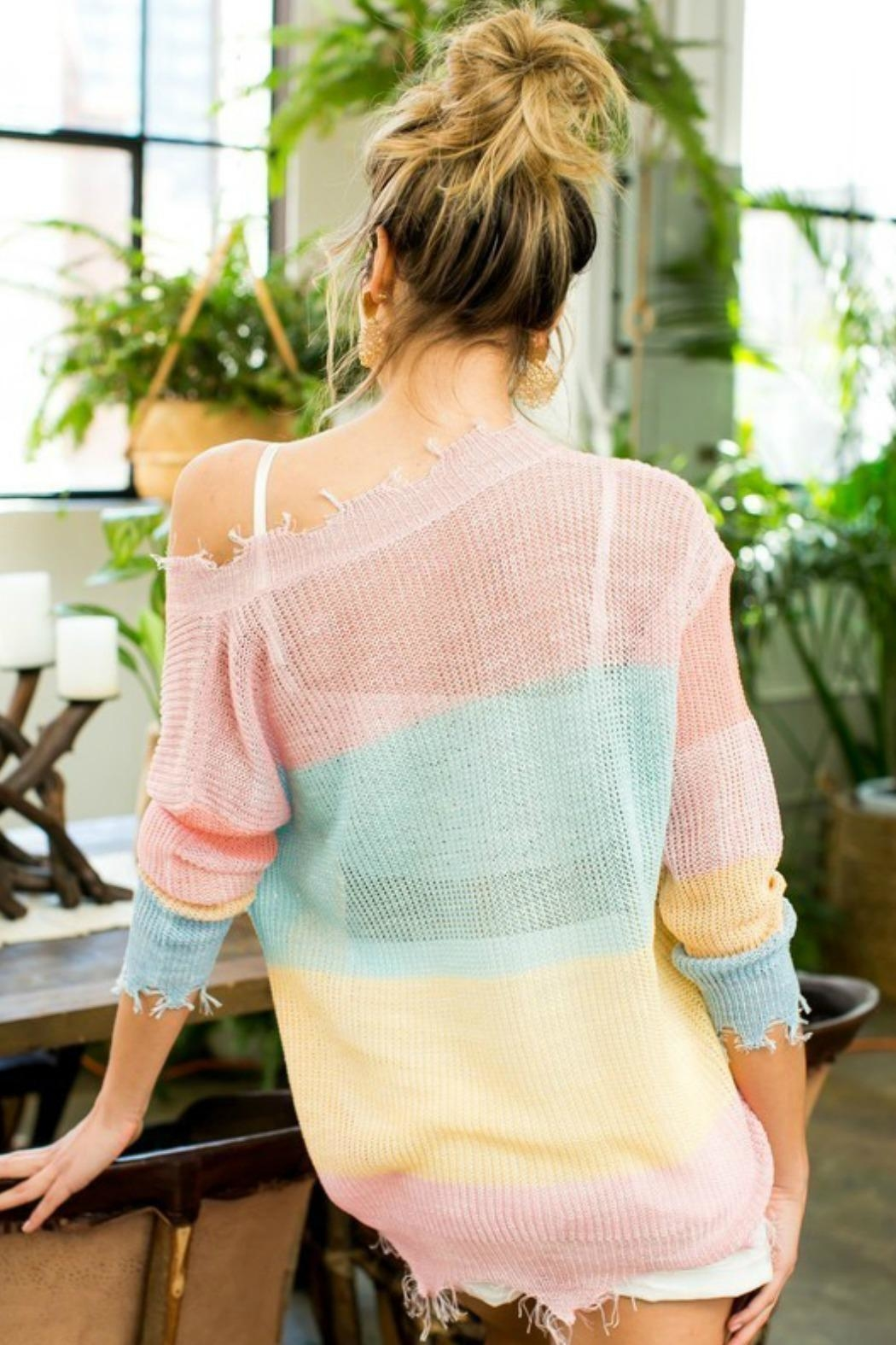 Main Strip Frayed Stripe Sweater - Back Cropped Image