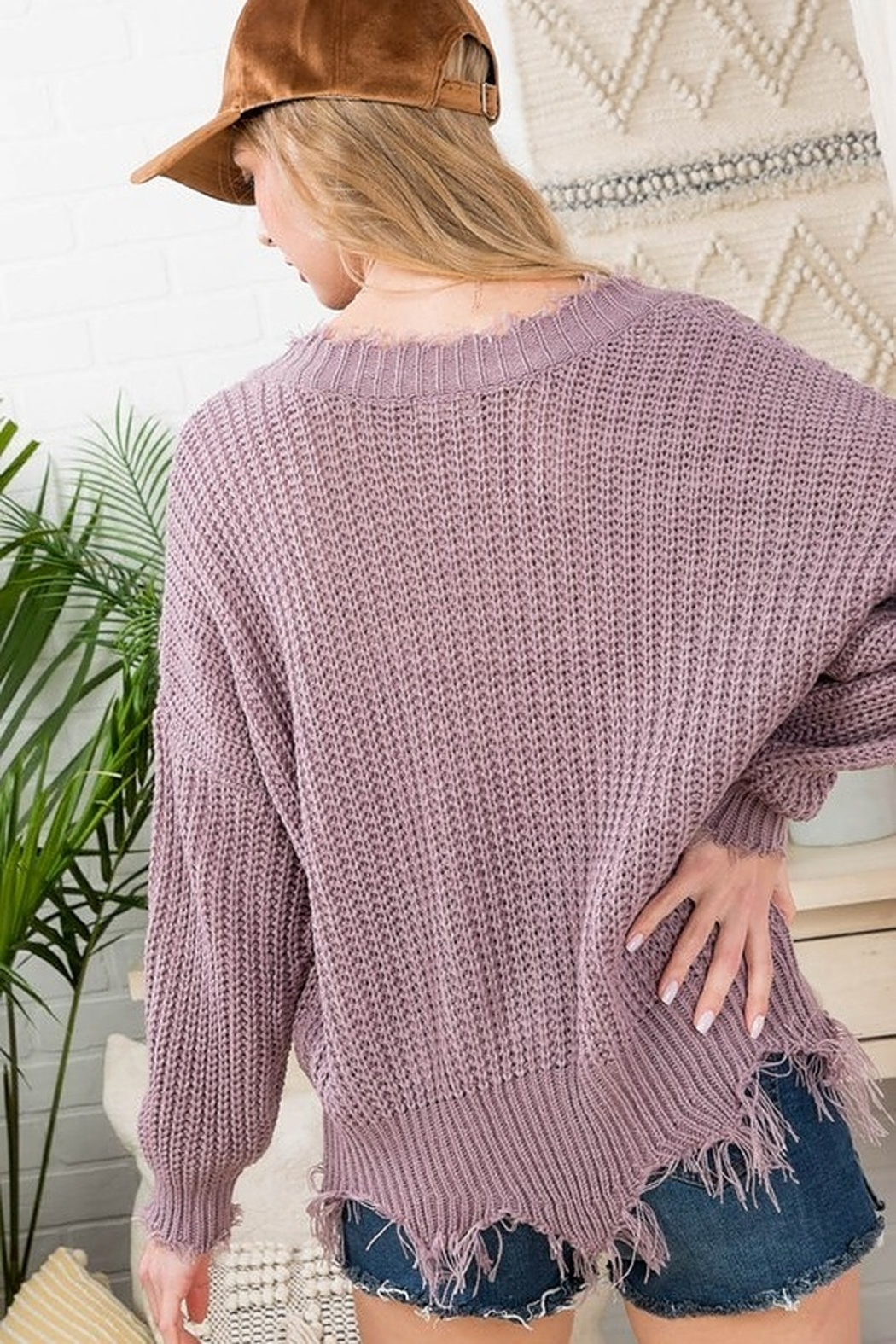 Main Strip Frayed Trim Sweater - Front Full Image