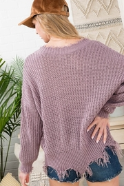 Main Strip Frayed Trim Sweater - Front full body