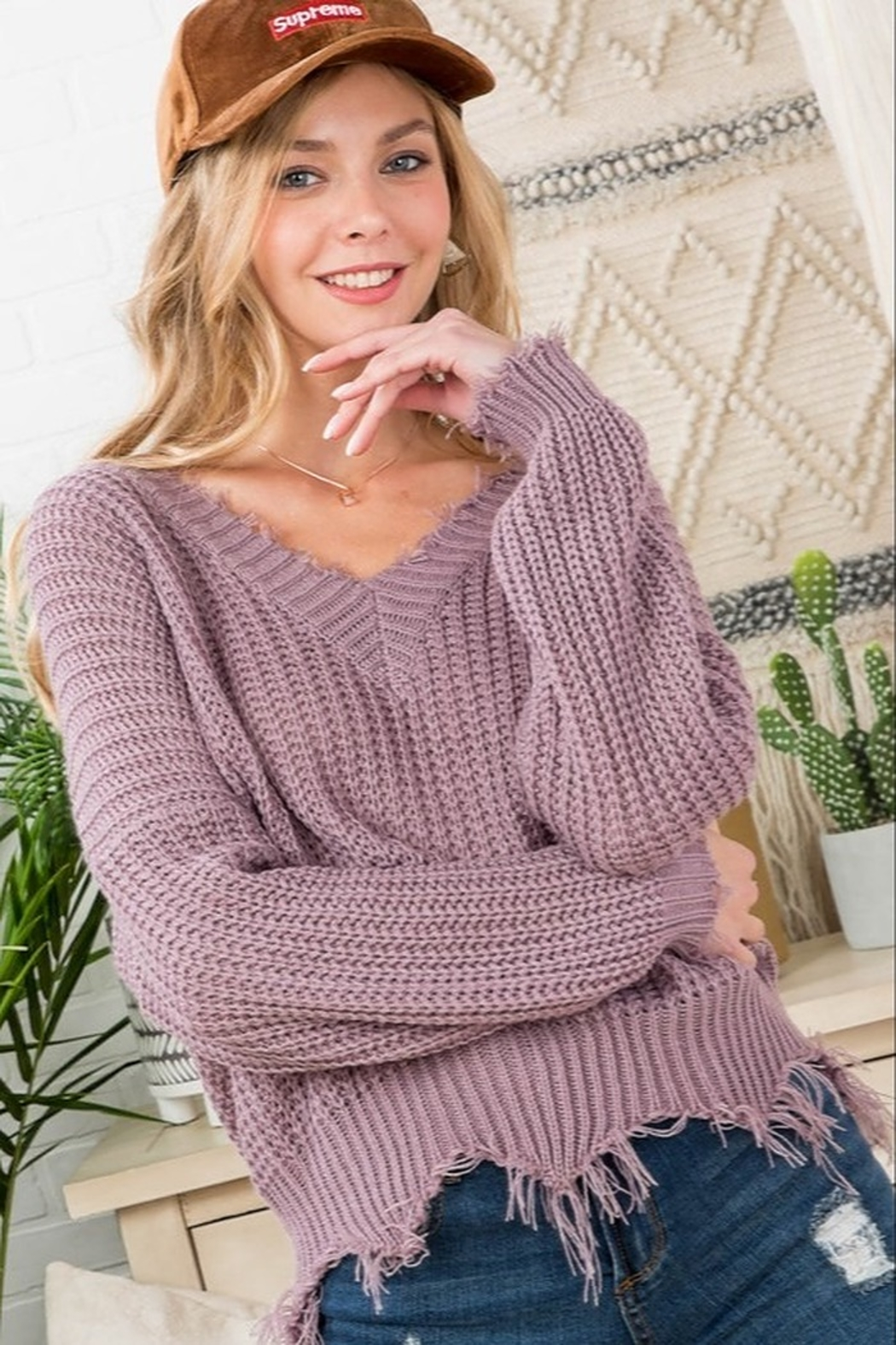 Main Strip Frayed Trim Sweater - Front Cropped Image