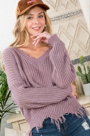 Main Strip Frayed Trim Sweater - Front cropped