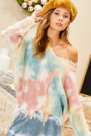 main strip  Frayed V Neck Oversized Tie Dye Sweater - Product Mini Image