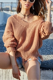 Pretty Little Things Frayed V-Neck Sweater - Product Mini Image