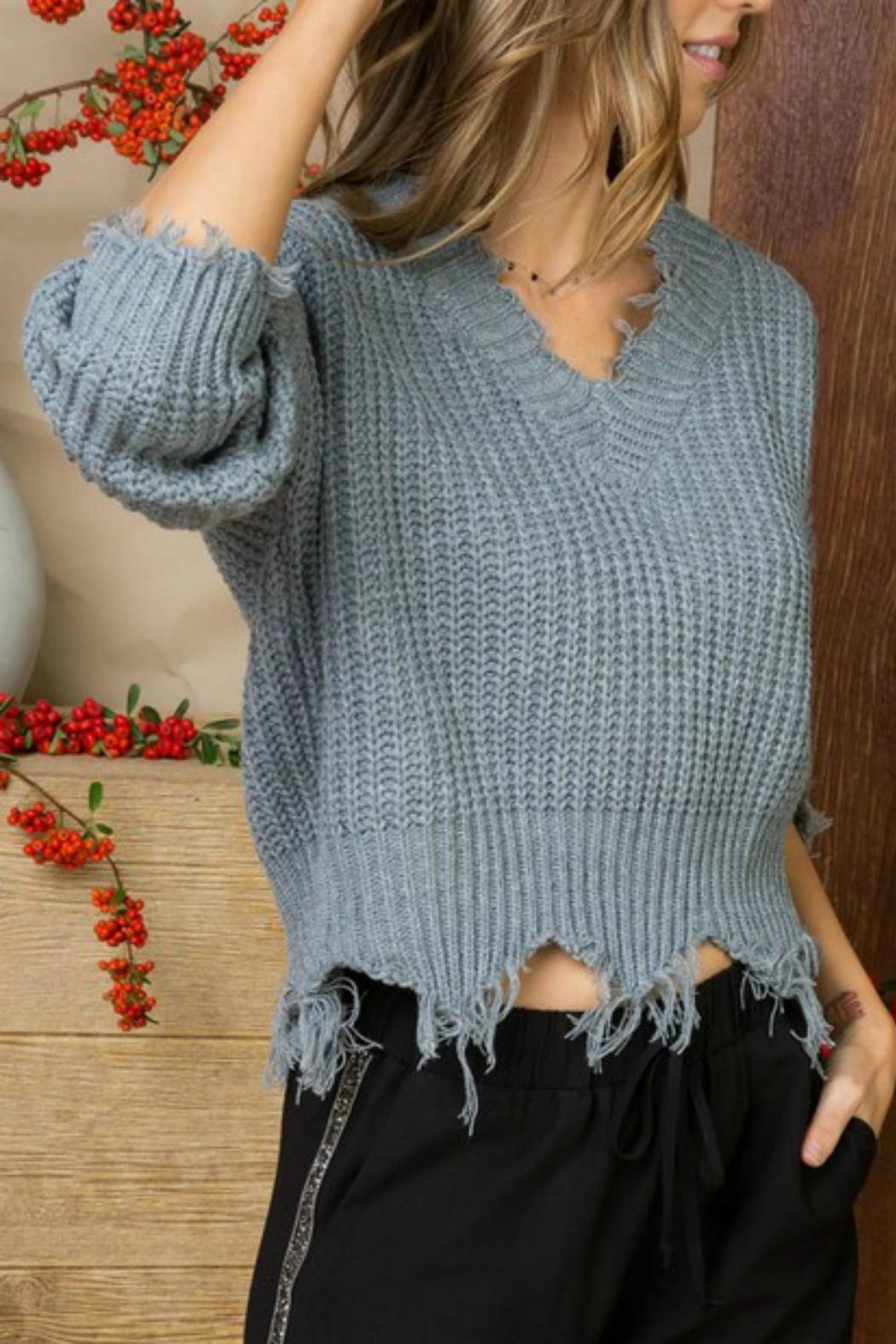 Pretty Little Things Frayed V-Neck Sweater - Front Cropped Image