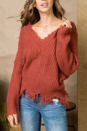 Pretty Little Things Frayed V-Neck Sweater - Front cropped