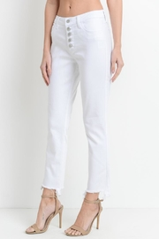 just black Frayed White Jean - Front full body