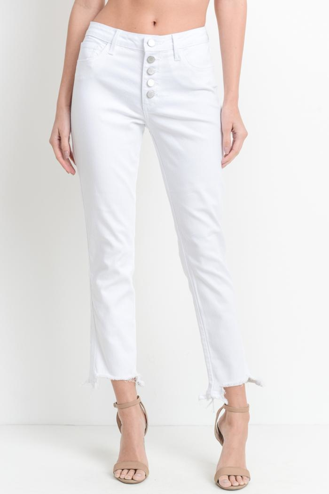 just black Frayed White Jean - Main Image