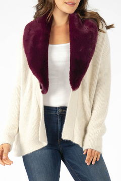 Kut from the Kloth Fredrica Burgundy Fur Collar Cardi - Product List Image