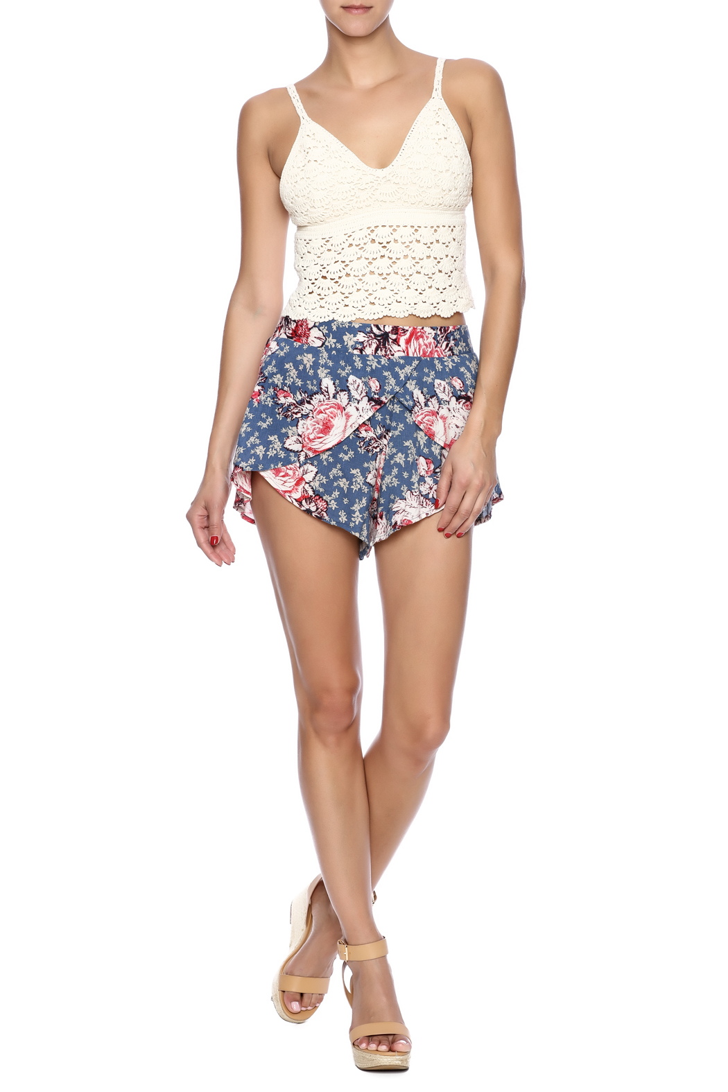 Free People Antiqued Floral Shorts - Front Full Image