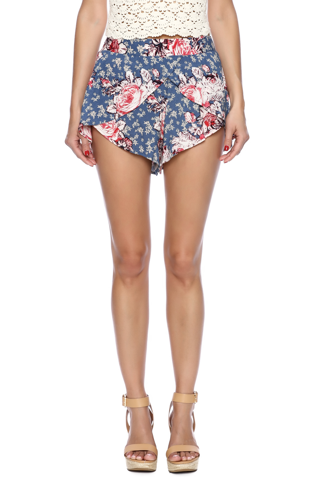 Free People Antiqued Floral Shorts - Side Cropped Image