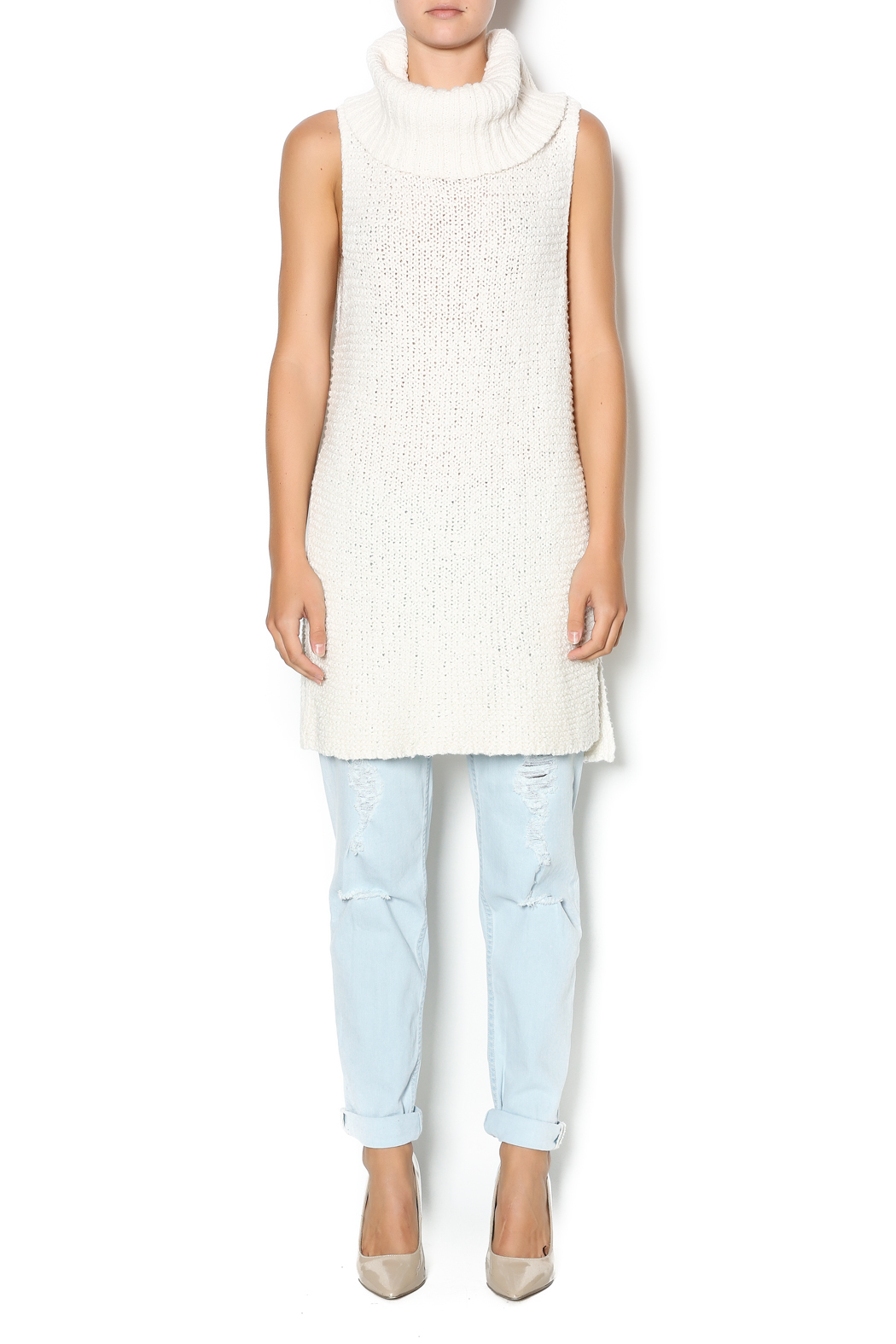 Free People Ivory Comb Turtleneck - Front Full Image