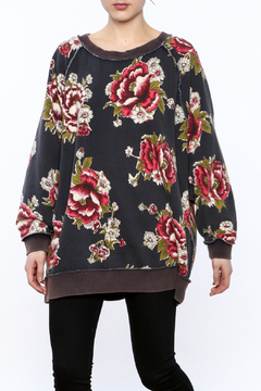 Shoptiques Product: Grey Floral Sweatshirt