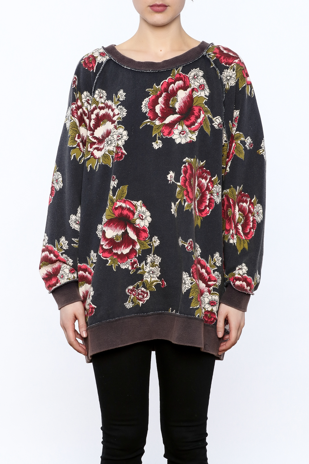 Free People Grey Floral Sweatshirt From Texas By Stephanie