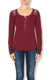 Miss Me Maroon Henley Top - Product Mini Image