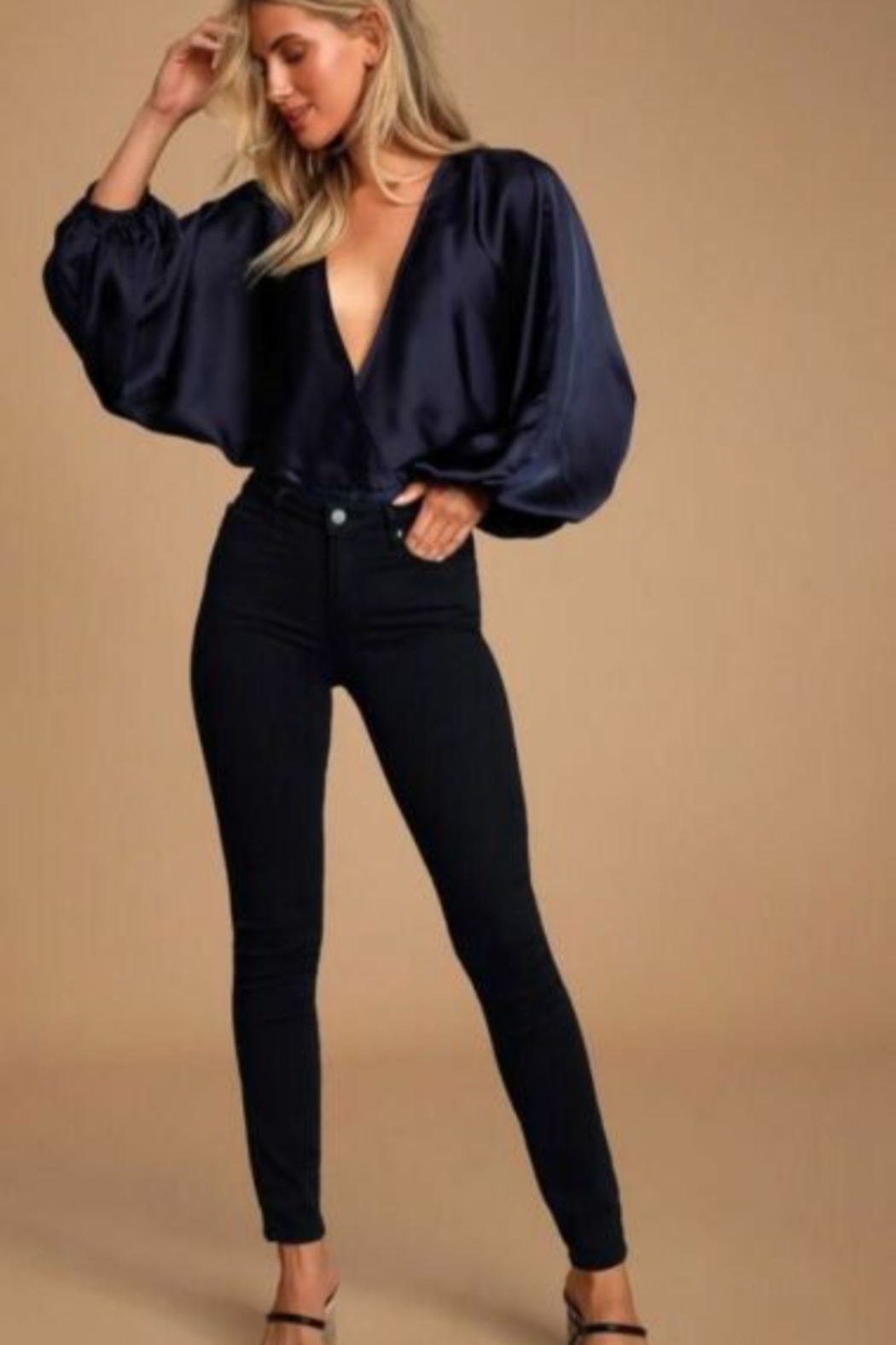 Free People Midnight Vibes - Navy Blue Top - Satin Surplice Top - Side Cropped Image