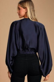 Free People Midnight Vibes - Navy Blue Top - Satin Surplice Top - Back cropped