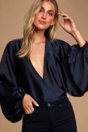 Free People Midnight Vibes - Navy Blue Top - Satin Surplice Top - Front cropped