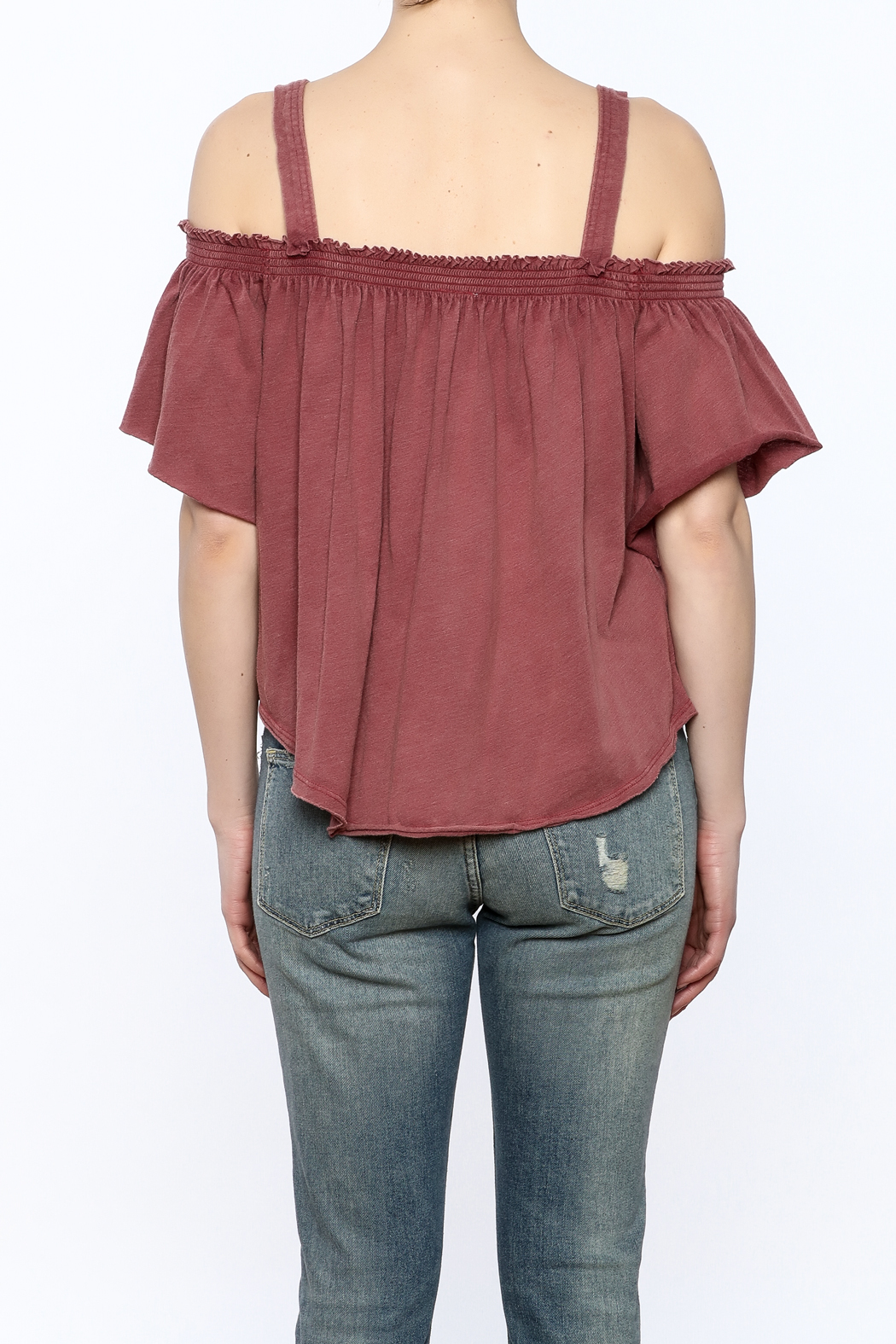 Free People Washed Maroon Top - Back Cropped Image