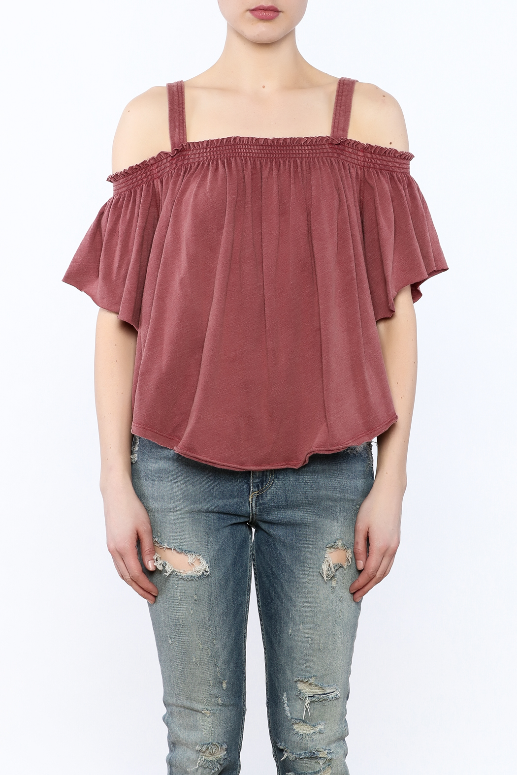 Free People Washed Maroon Top - Side Cropped Image