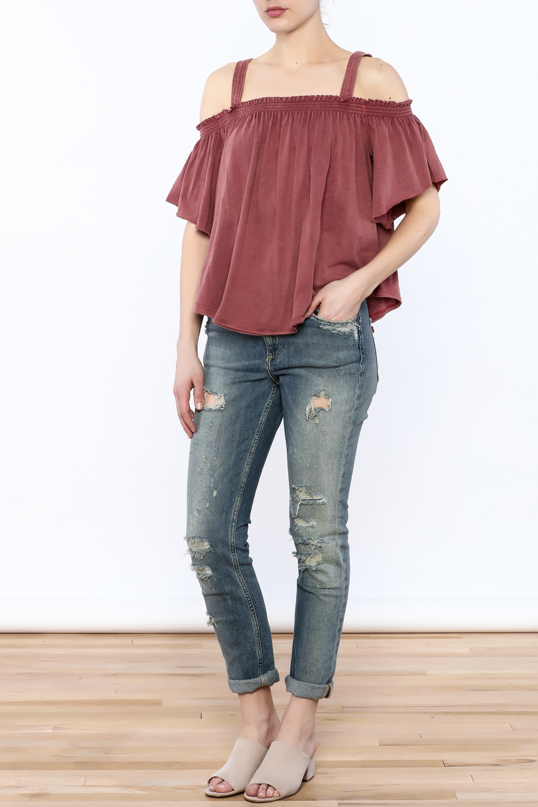 Free People Washed Maroon Top - Front Full Image