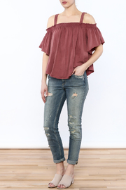 Free People Washed Maroon Top - Front full body