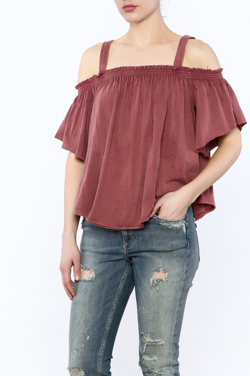 Free People Washed Maroon Top - Front Cropped Image