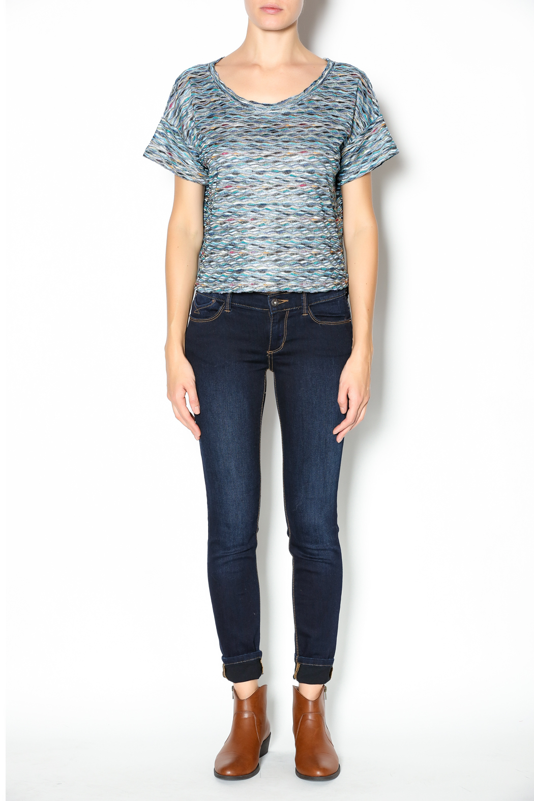 Free People Rainbow Wave Box Tee - Front Full Image