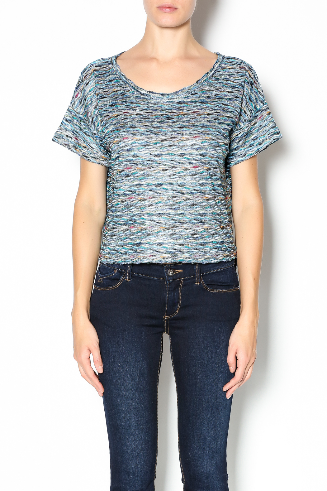 Free People Rainbow Wave Box Tee - Front Cropped Image