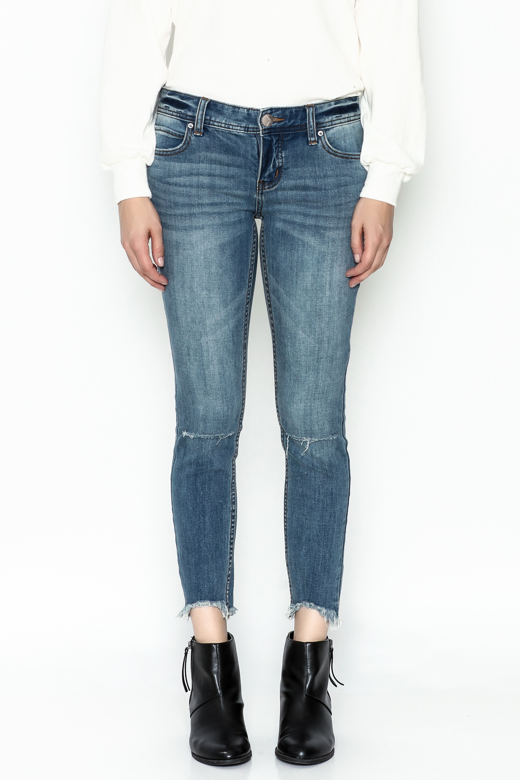 Free People Ripped Knee Skinny Jeans - Front Full Image