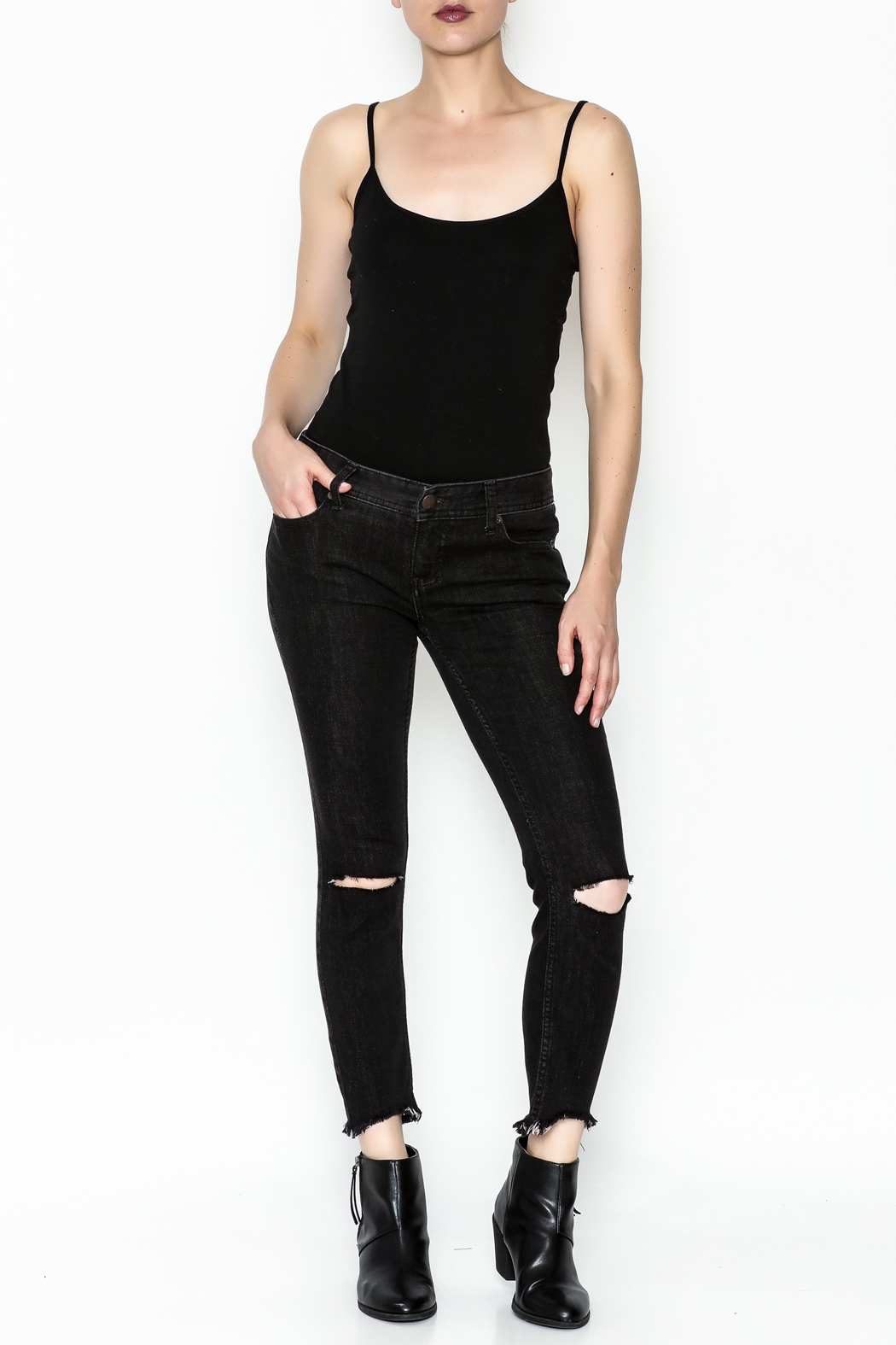 Free People Ripped Knee Skinny Jeans - Side Cropped Image