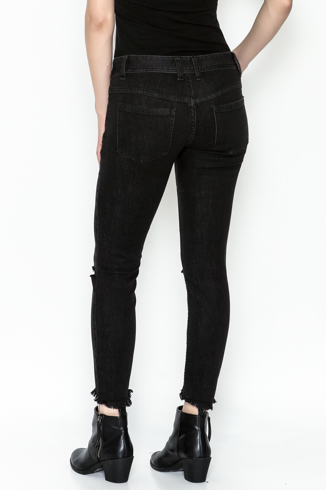 Free People Ripped Knee Skinny Jeans - Back Cropped Image