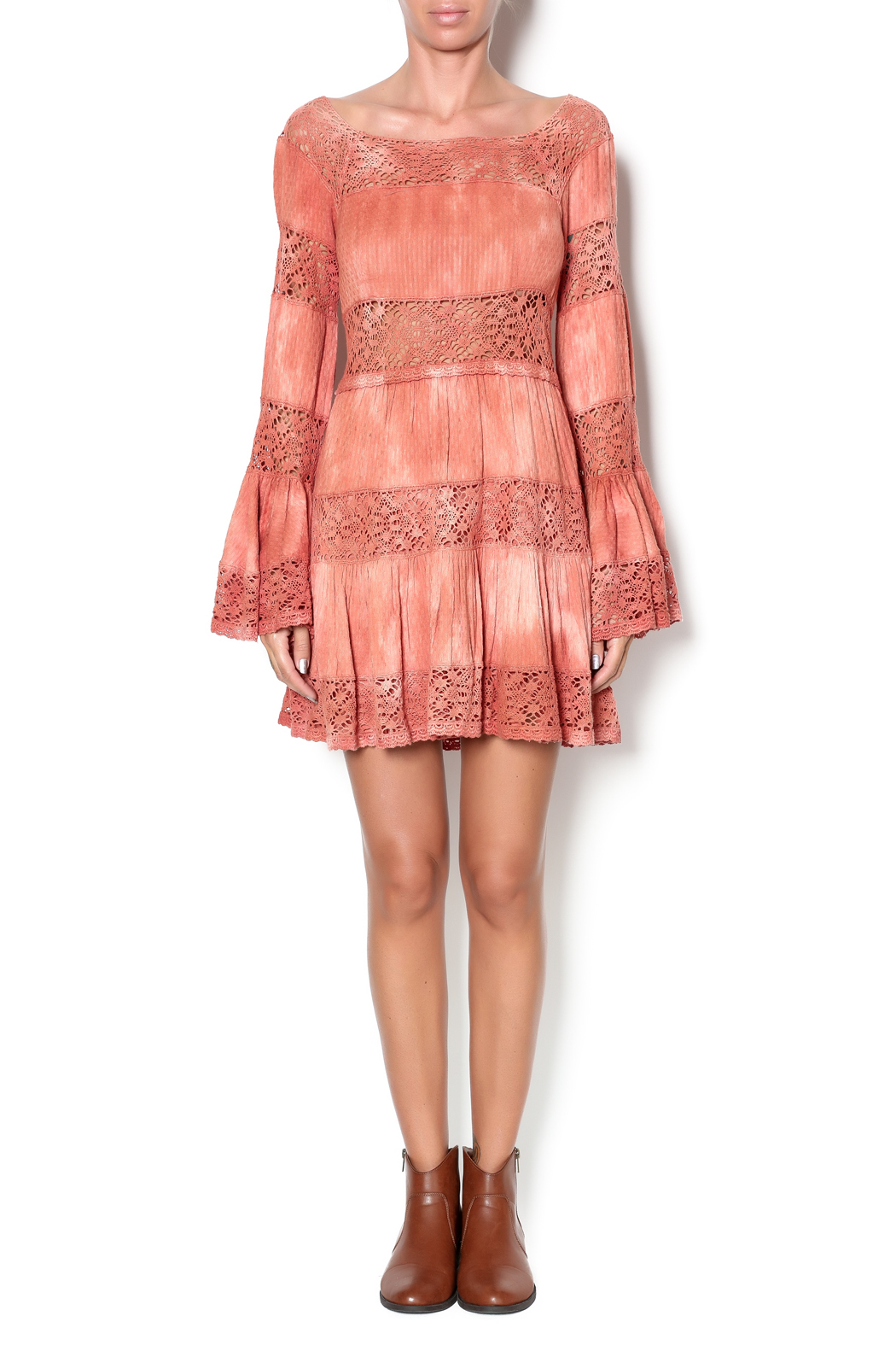 Free People Sunrise Crochet Dress - Front Full Image