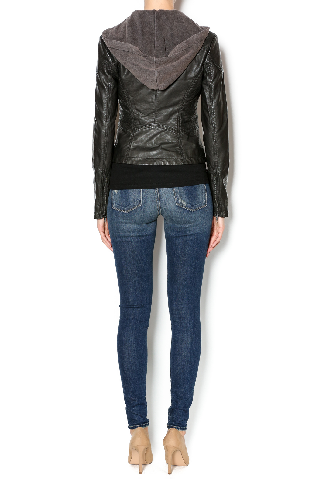 Free People Vegan Leather Jacket - Side Cropped Image