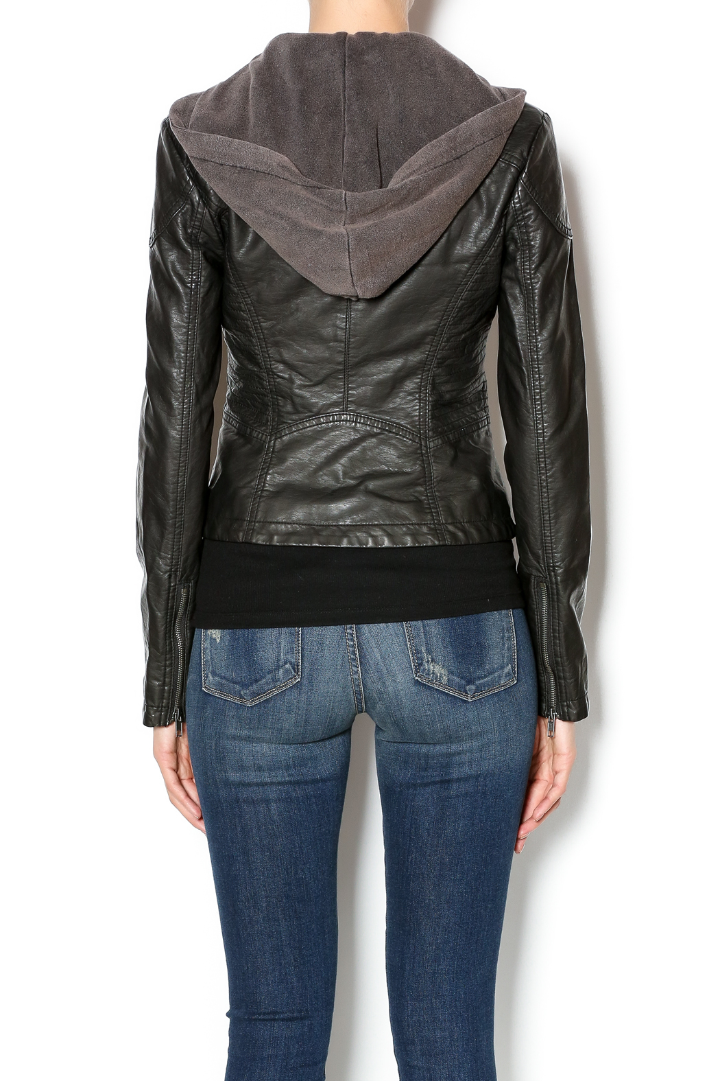 Free People Vegan Leather Jacket - Back Cropped Image