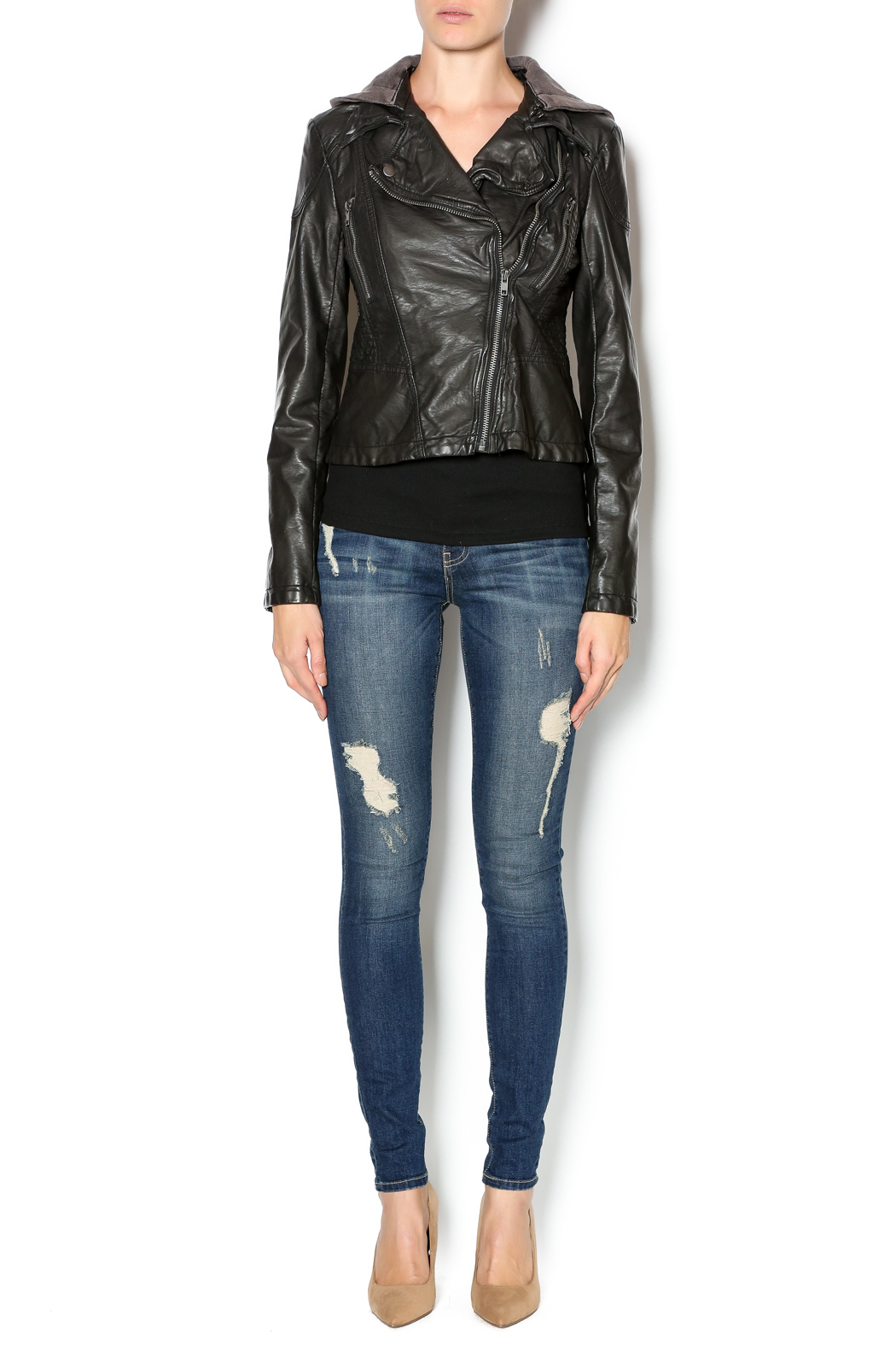 Free People Vegan Leather Jacket - Front Full Image
