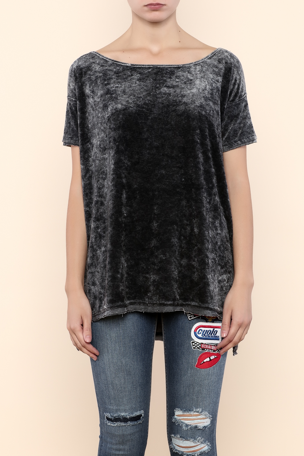 Free People Velour Boxy Tee - Side Cropped Image