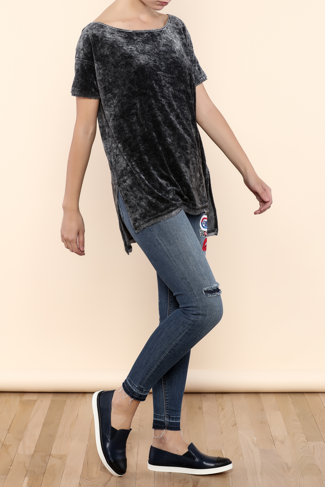 Free People Velour Boxy Tee - Front Full Image