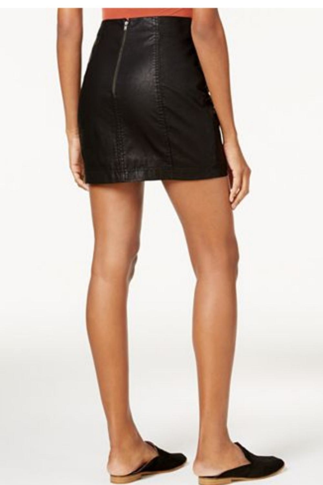 Free People Black Leather Skirt - Front Full Image