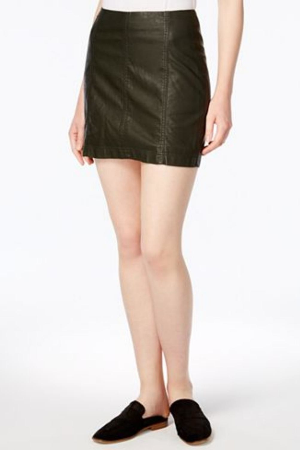 Free People Black Leather Skirt - Front Cropped Image