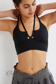 Free People Black Rouche Bra - Front cropped