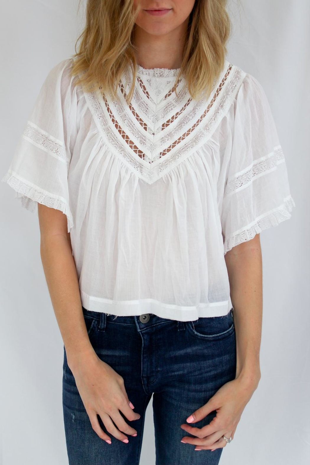 Free People White Summer Top - Front Cropped Image